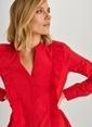 People By Fabrika Fırfır Detaylı Gömlek Kırmızı